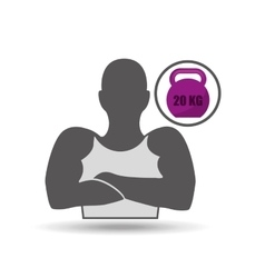 silhouette arms crossed and barbell vector image