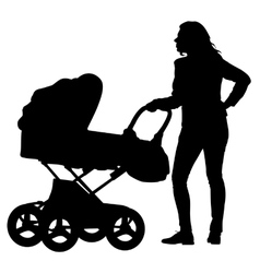 Silhouettes walkings mothers with baby strollers vector image