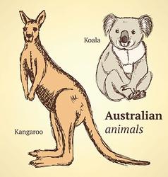 Sketch australian animals in vintage style vector
