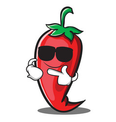 Super cool red chili character cartoon vector