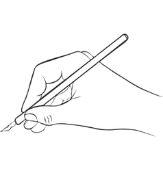 writing hand with ink pen vector image vector image