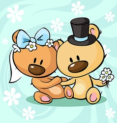 Bears in wedding dress sitting on abstract vector