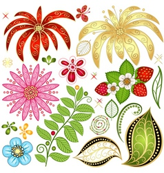 Set colorful floral design elements vector
