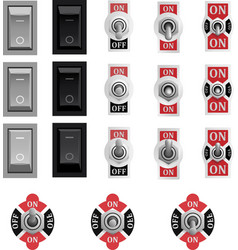 Set of toggle and tumbler switches vector image