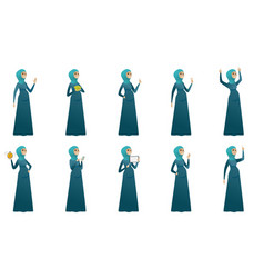 Muslim pregnant woman set vector