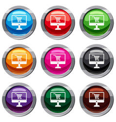 Purchase at online store through computer set 9 vector