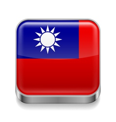 Metal icon of Taiwan vector image