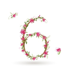 Floral number six for your design vector image