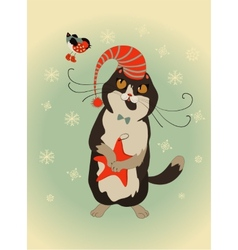 Curious cat and bullfinch celebrate christmas vector