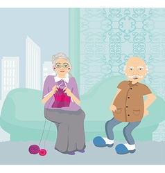Senior couple resting at home vector