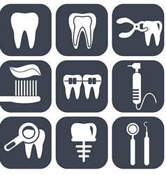 Dental icons set on grey vector