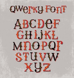 Vintage quirky hand drawn font vector