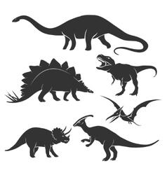 Dinosaur silhouettes vector image