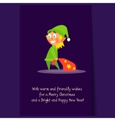 Christmas elf carrying present bag flat vector