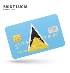 Credit card with saint lucia flag background for vector
