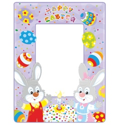 Easter border with bunnies vector image
