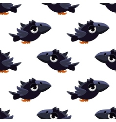 Cute black crow seamless pattern vector
