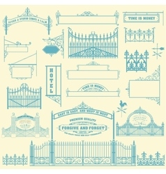 Set of wrought iron wicket fence and gates vector