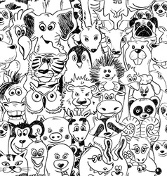 Graphic seamless pattern with animals vector