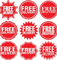 Free delivery signs set free delivery sticker set vector image