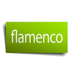 Flamenco green paper sign isolated on white vector