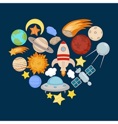 Space icons in the shape of heart vector