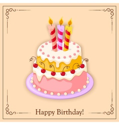 Birthday vintage card with cake tier vector
