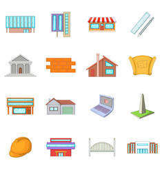 Architecture items icons set cartoon style vector