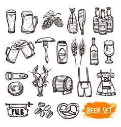 Beer black doodle icons set vector image vector image