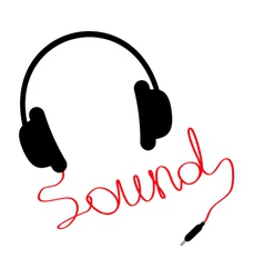 Black headphones red cord in shape of word sound vector