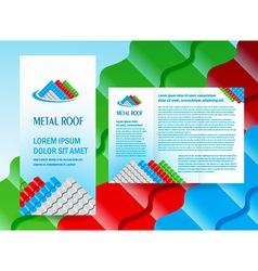 Brochure folder roof metal profile colored design vector