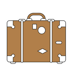 Color silhouette image brown travel briefcase with vector