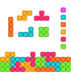 Colorful brick pieces for game design vector
