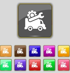 Computer repairs icon sign set with eleven colored vector