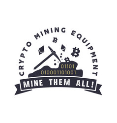 Crypto mining equipment emblem crypto currency vector