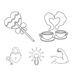 cups with coffee valentine lamp lock with key vector image vector image