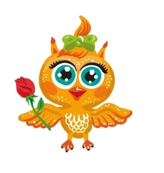 Cute owl cartoon character bird holding a vector