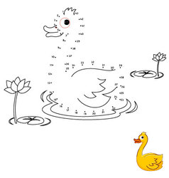 Duck Connect the dots and color vector image