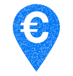 Euro map marker grunge icon vector