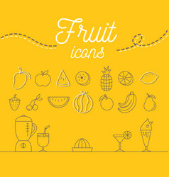 Fruit icons set design on yellow background vector