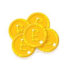 gold pounds coins cartoon style isolated vector image