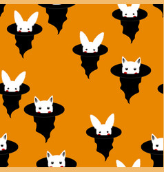 halloween background - white rabbit and cat in vector image vector image