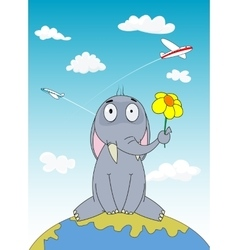 Hand drawn cartoon elephant sitting on Earth vector image vector image