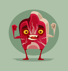 Happy smiling piece meat mascot character vector