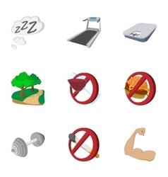 Healthy lifestyle icons set cartoon style vector