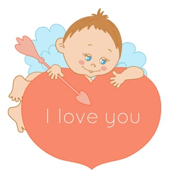 I love you card Valentines Day with a cute cupid vector image vector image