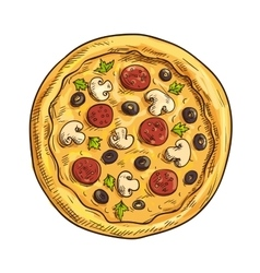 Italian pizza sketch for pizzeria and cafe design vector image