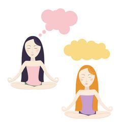 Meditating cartoon girls vector