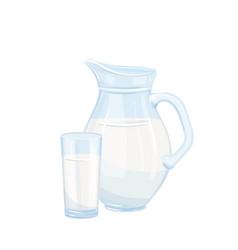 milk jug and glass vector image