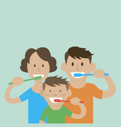 Mom dad son to brush their teeth vector